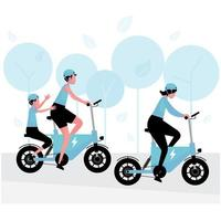 alternative or green energy technology featuring people riding an electric bicycle with family vector