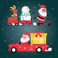 Set of santa claus with reindeer, snowman, red cart and gift on a car with dark blue background vector