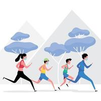 new normal exercise picture features a group of people running while keeping distance