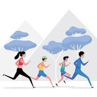 La nueva imagen de ejercicio normal muestra a un grupo de personas corriendo manteniendo la distancia. vector