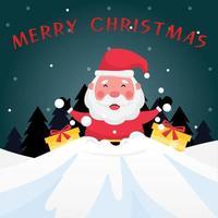 tarjeta de felicitación azul oscuro con texto de feliz navidad, santa claus y caja de regalo amarilla vector