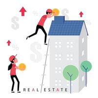 Real estate business featuring people helping to renovate the building vector
