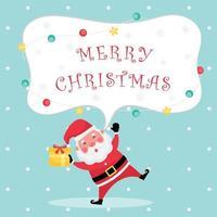 tarjeta de felicitación azul claro con texto de feliz navidad, santa claus y caja de regalo vector