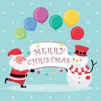 tarjeta de felicitación azul claro con texto de feliz navidad, santa claus, muñeco de nieve y globo de colores