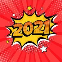 2021 New Year comic book style pop art postcard or greeting card element.