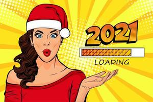 Waiting for new year. Pop art Brunette girl looking at 2021 loading process vector