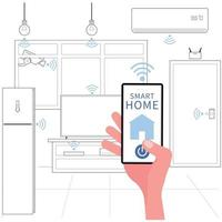 Smart home picture features a hand holding phone to control electric appliances in the house vector