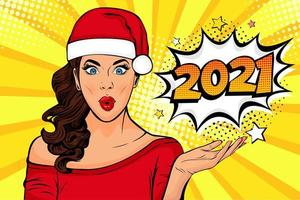 Waiting for new year. Pop art Brunette girl looking at 2021 vector