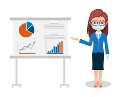 Businesswoman Presenting Sale Graph Wearing Mask vector