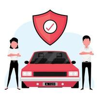Car insurance business featuring an agent standing next to a red car with protection symbol