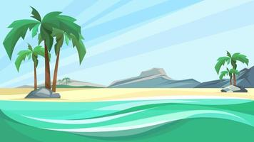 Desert island coast with palms and mountain.