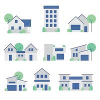 A picture set of house, home and building vector