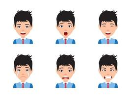 Male Character Avatar With Various Expressions vector
