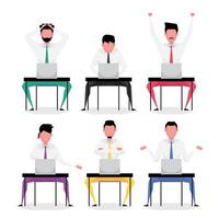 Set of business people sitting and working on computer vector