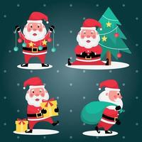 Set of santa claus with christmas tree, yellow gift and green bag on light blue background