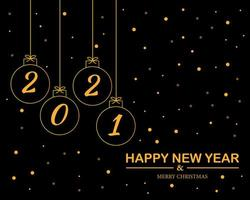 Happy new year 2021 with christmas ball background vector