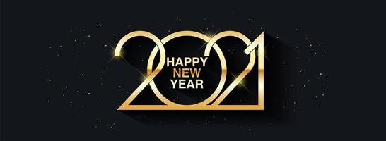Happy New Year 2021 text design. Vector greeting illustration with golden numbers.