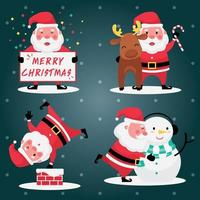 Set of santa claus with reindeer and snowman on a light blue background vector