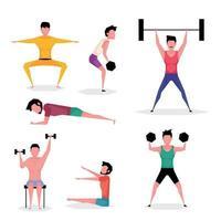un conjunto de personajes de dibujos animados de hombre haciendo ejercicio con mancuernas y haciendo flexiones vector