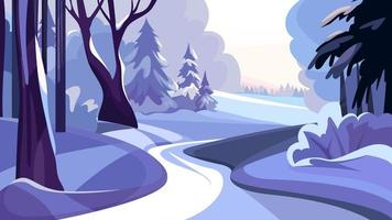 Snowy winter forest. vector