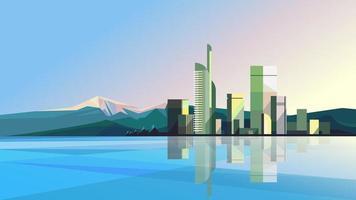 ciudad moderna con lago y montañas. vector