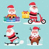 Set of santa claus with gift, riding motorbike, and skateboard on a light blue background vector