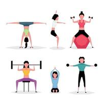A cartoon character set of exercise woman showing lady holding dumbbell and doing yoga vector