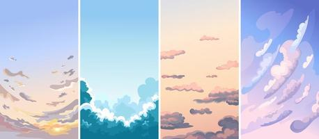 Collection of sky landscapes. vector