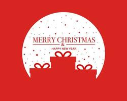 Merry christmas happy new year background with present vector
