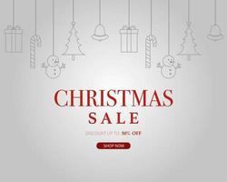 Christmas sale with hanging christmas elements