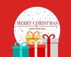 Merry christmas happy new year background with christmas present vector
