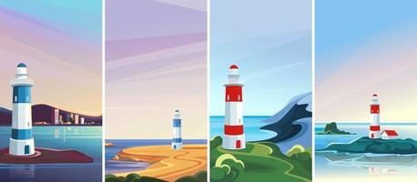 Seascapes with lighthouse. vector