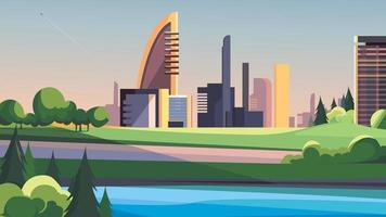 City by the river. vector