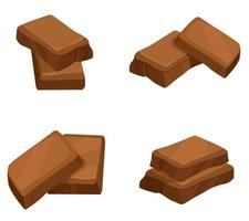 Different slices of chocolate.