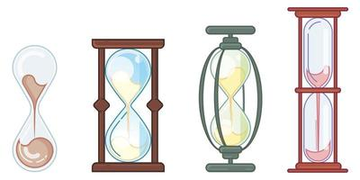 Set of different hourglasses. vector