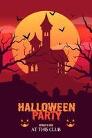 Flat design halloween party poster template Vector