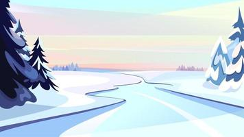 Frozen river at dawn. vector