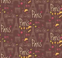 Paris hand drawn symbols seamless pattern