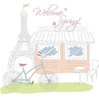 Paris hand drawn symbols for postcard