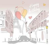 Happy birthday card from Paris street, Eiffel tower and balloons, hand drawn vector
