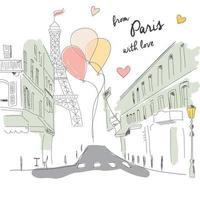 Postcard from Paris street, Eiffel tower and balloons, hand drawn vector