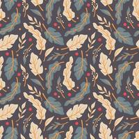 Seamless pattern design with hand drawn flowers and floral elements vector