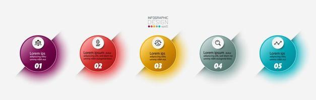 Circle 5 step infographic set