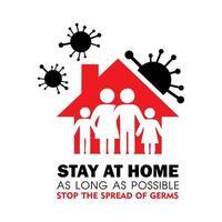 quedarse en casa y detener la propagación de gérmenes vector