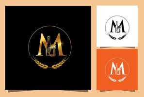 Gold Glass and Bottle Beer Monogram Letter M vector