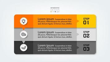 3 step infographic design vector