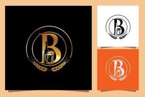 vaso y botella de cerveza monograma letra b