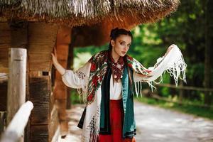 Beautiful young girl in a traditional Ukrainian dress
