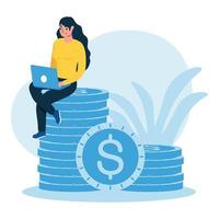 woman avatar with laptop and coins vector design