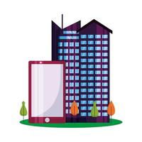 Isolated city buildings smartphone and trees vector design